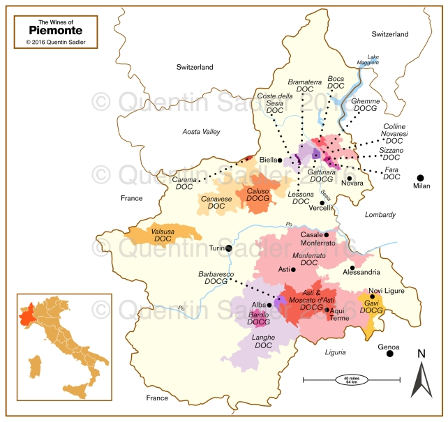 Wine map of Piemonte - click for a larger view. Non watermarked, high resolution versions are available for a fee.