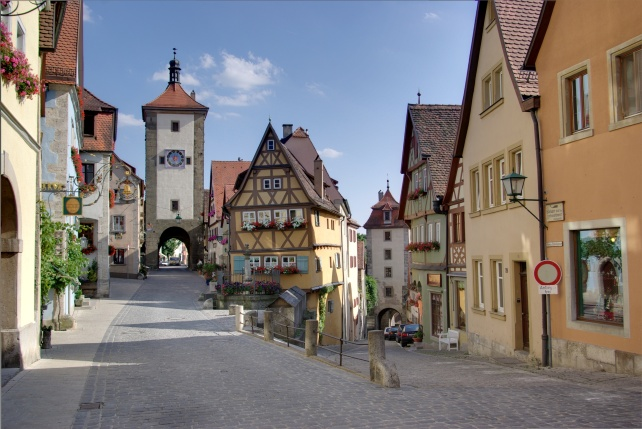 The gorgeous chocolate-box town of Rothenburg ob der Tauber, 30 km south east of Würzburg.