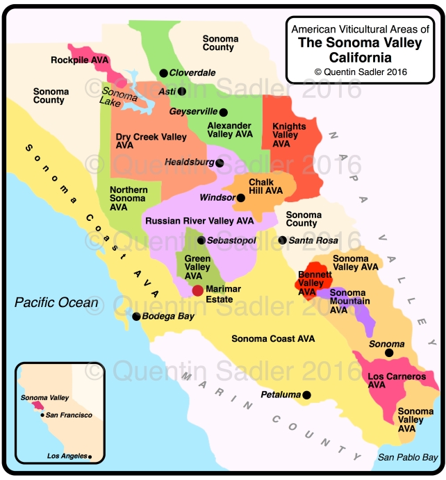 The wine regions of Sonoma, showing the location of the Marimar Estate - click map for a larger view.
