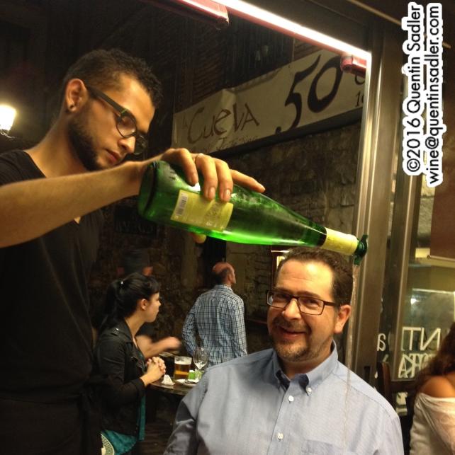 My Txakoli being poured in San Sebastian, note the Txakoli pourer.