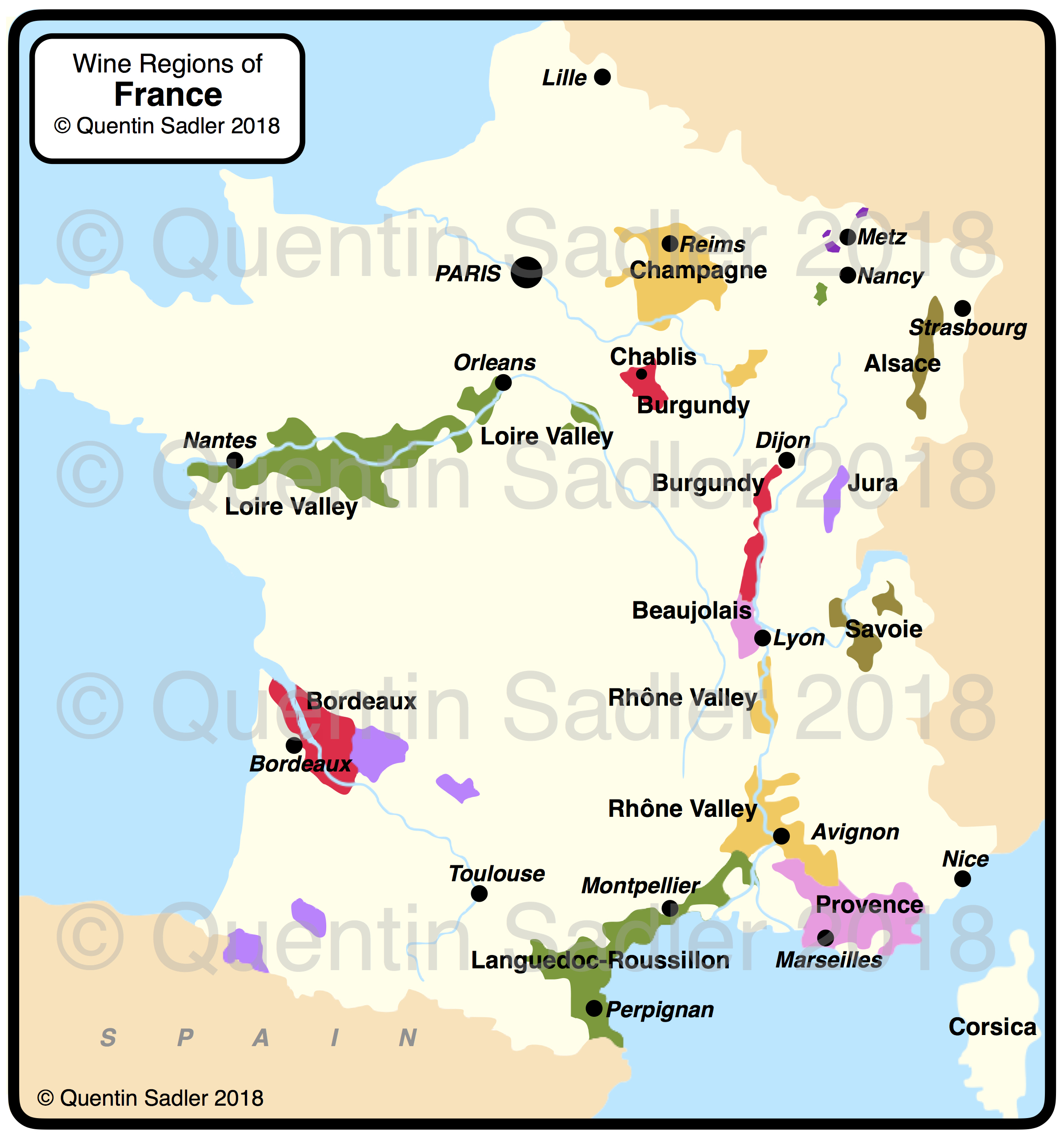 Map Of France Jura.French Wine Map Quentin Sadler S Wine Page